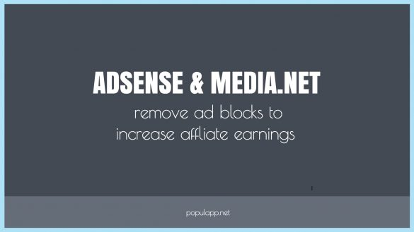 increase affiliate earnings by removing adsense and media.net