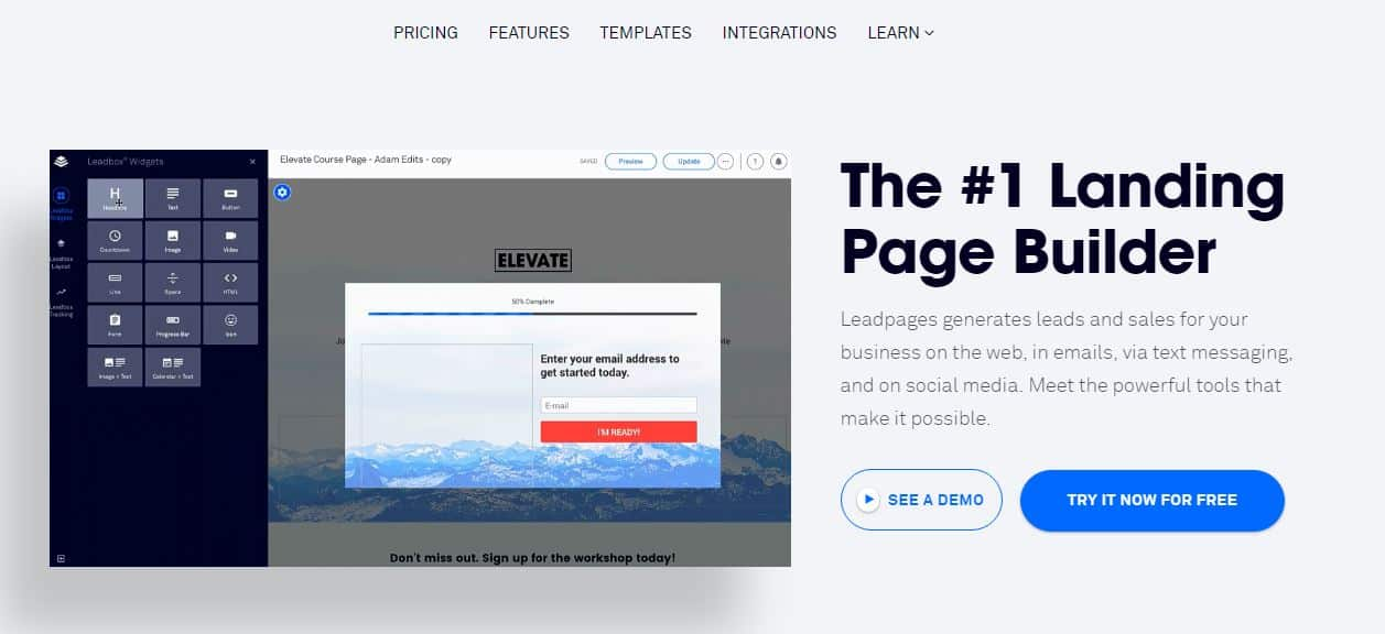 best landing page builder leadpages