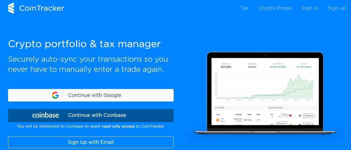 manage your crypto portfolio with cointracker