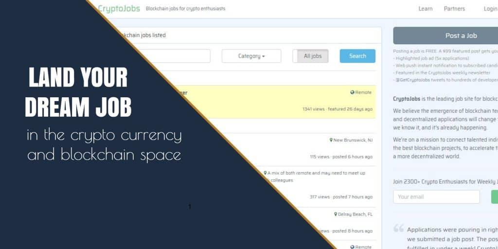 Cryptojobs – blockchain and cryptocoin related job postings
