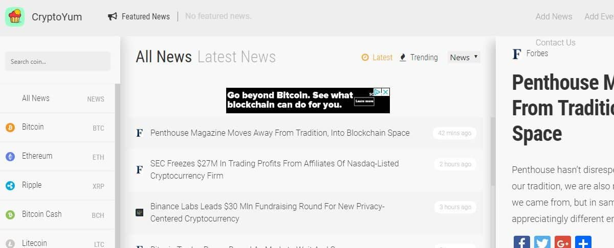 get the latest news from the crypto currency market with cryptoyum